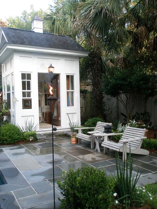 Garden sheds the backyard pinterest small bathroom for Pool house with bathroom cost