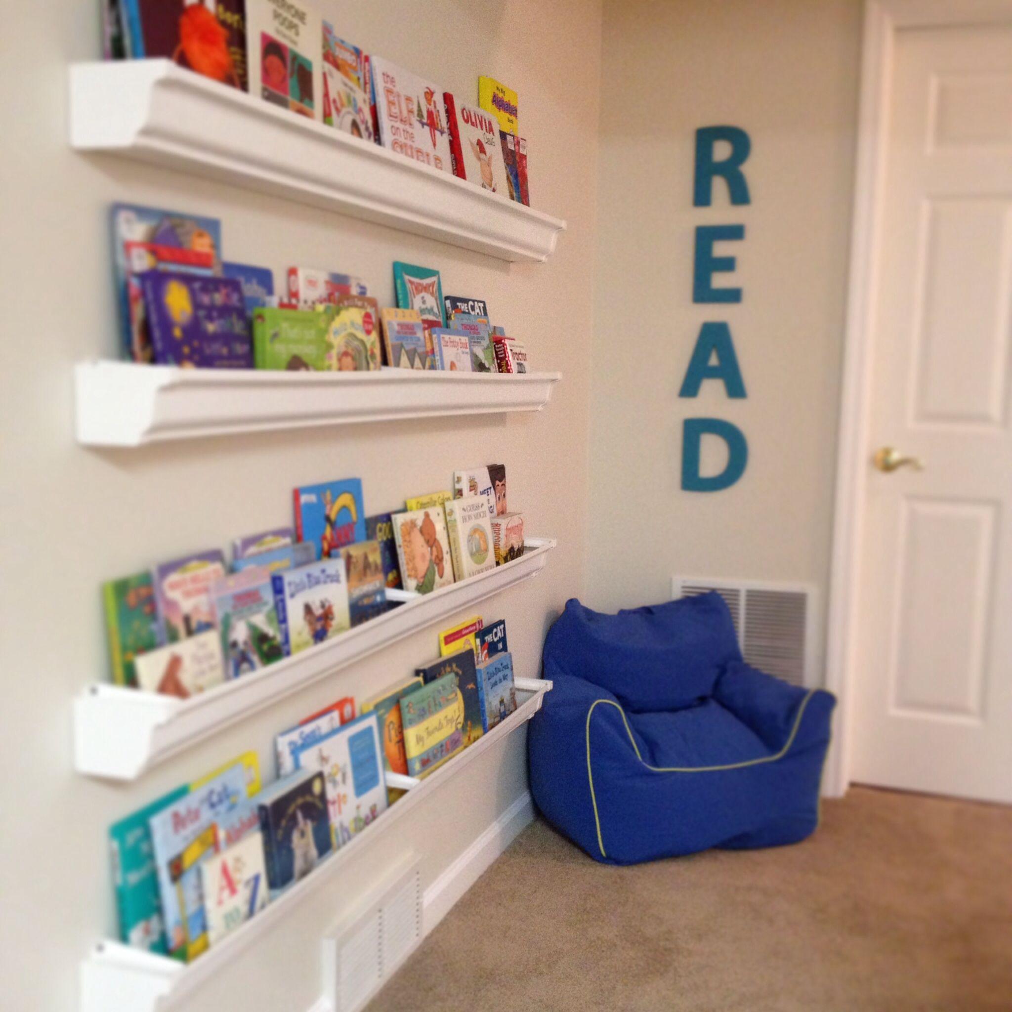 Gutter Bookshelves For Playroom With Behr Hazelnut Cream