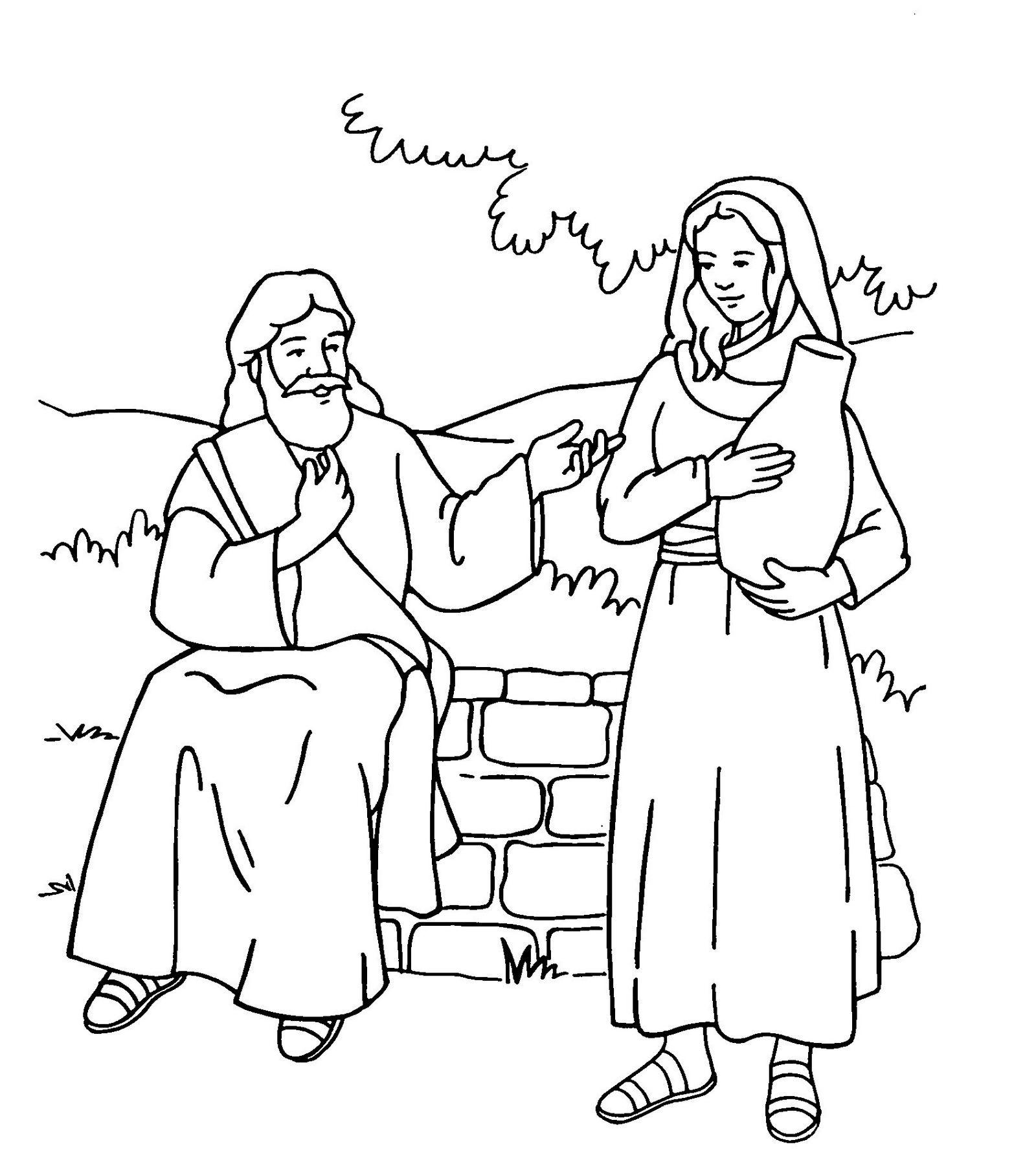 samaritan woman at well meaning history coloring sheet
