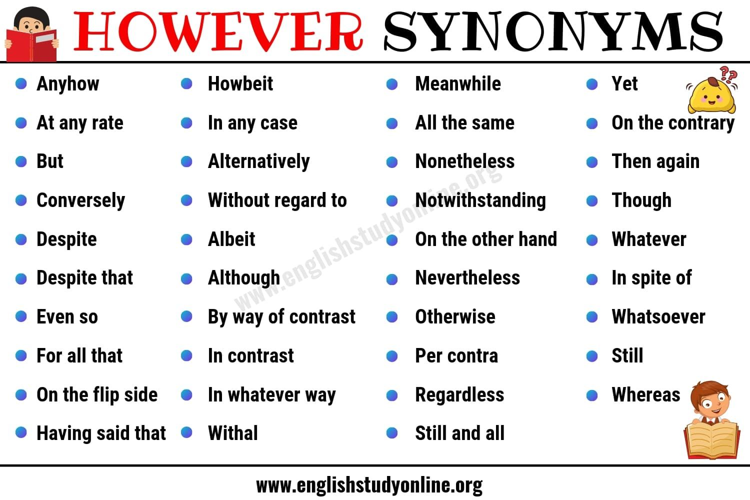 However Synonym List Of 40 Powerful Synonyms For However