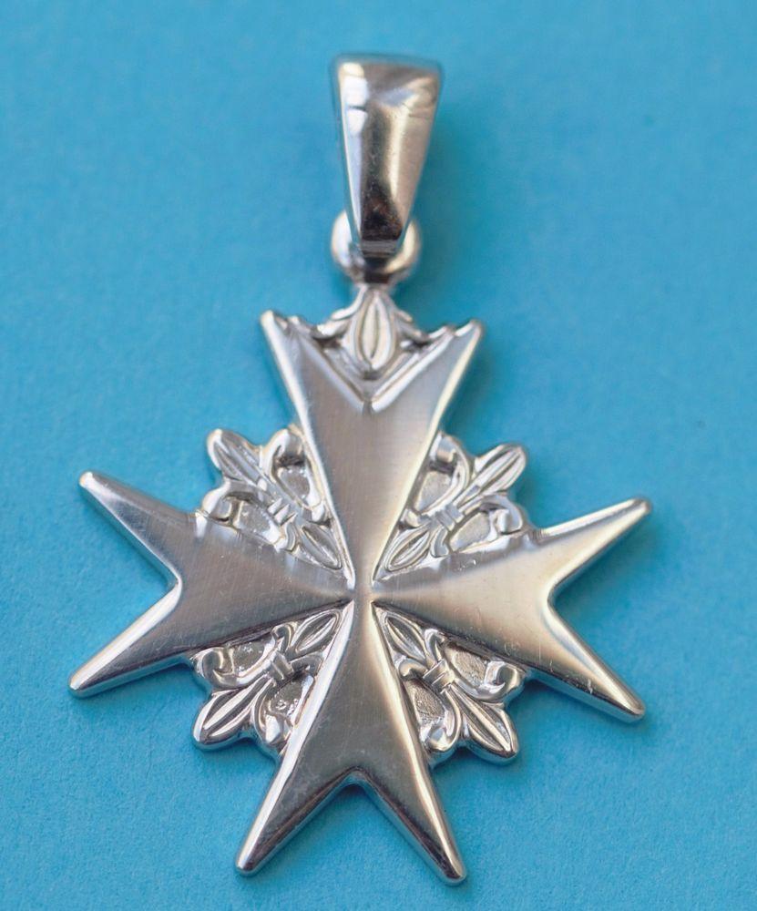 John`s Maltese Cross Pendant Sterling Silver St