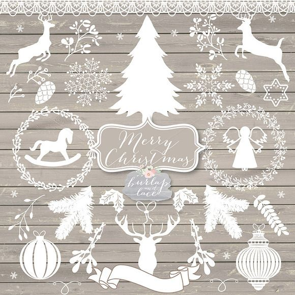 Merry christmas rustic. Vector xmas cliparts by