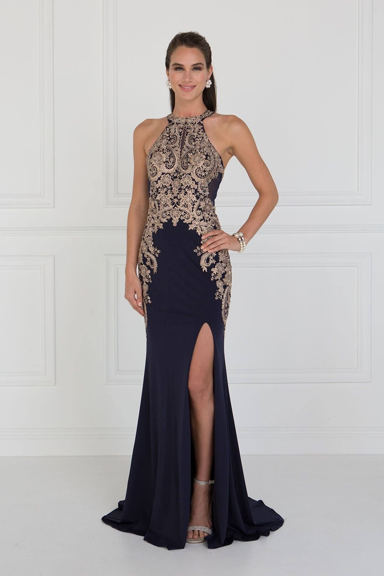cb2f28d53ab Seductive Navy evening gown with slit GLS 1519N | Mother of bride in ...