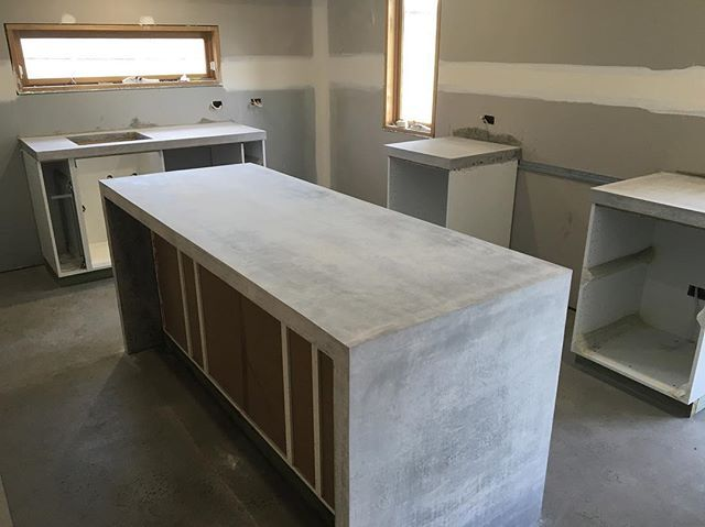 65mm Thick Concrete Island Bench Bench With Sink Cutout And Two
