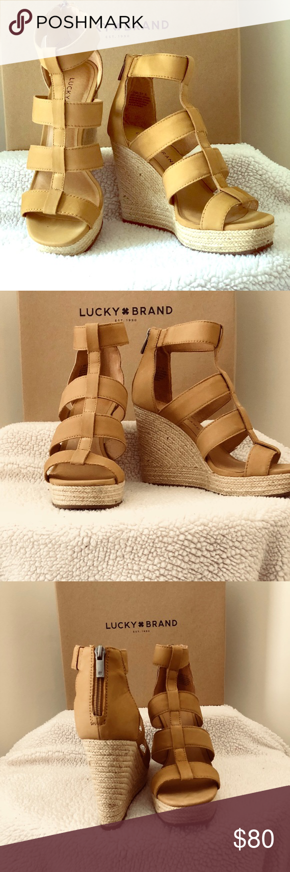 ae3633e0deefdf 7.5 Lucky Lateera wedge sandal in Sandbox. Worn one day for graduation  ceremonies last year. Very comfortable and stylish as always with Lucky.
