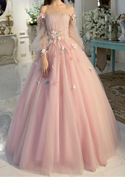 Long Sleeve Off Shoulder Formal Evening Dress Pink