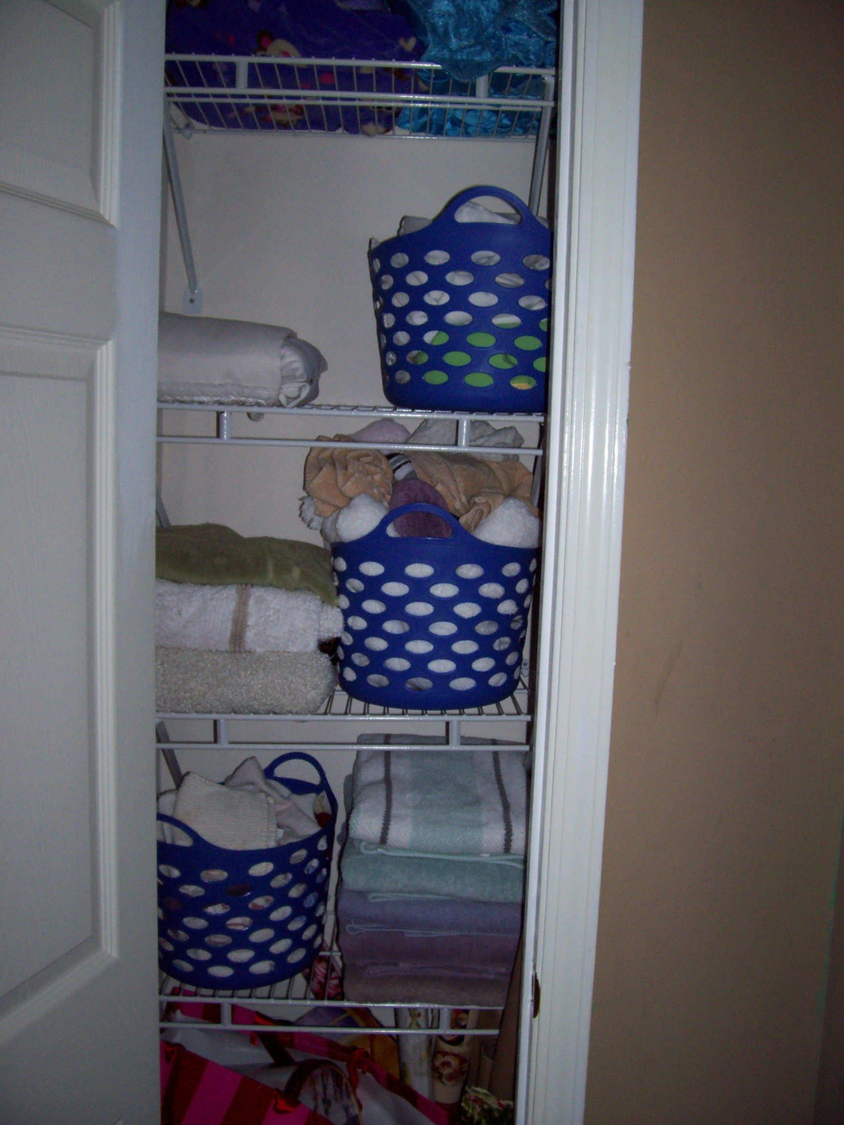 **FINISHED PRODUCT**Dollar Tree Organizing Bins For The Linen Closet. One  Each For Washcloths, Hand Towels, Pillow Cases.