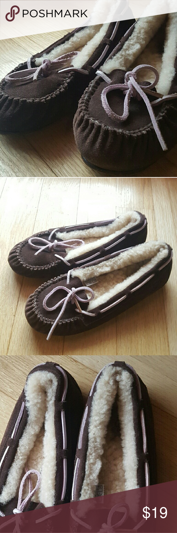 | UGG | Brown & Pink Moccasin Slippers, Size US 7 Brand: UGG  Size: US 7 (womens)  Color(s): Brown Exterior, Pink Ties,  White Interior  Condition: EUC (Excellent Used Condition) Show some signs of wear but still have a lot of life left in them!  Please feel welcome to comment with any questions; I am happy to help! UGG Shoes Moccasins