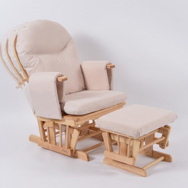 Habebe Glider Chair Beech Wood Cream Washable Covers Brake System Glider Rocking Chair Furniture Glider Chair