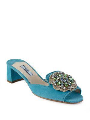 Prada Embellished suede sandals fDPn8B6c