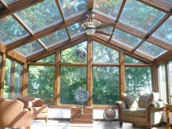 Image Of Glass Ceiling As Roof Top Separated By Several Lumber Beams Over Conservatory Deck Protection From Ultraviolet D Rustic Sunroom Roof Design Glass Room