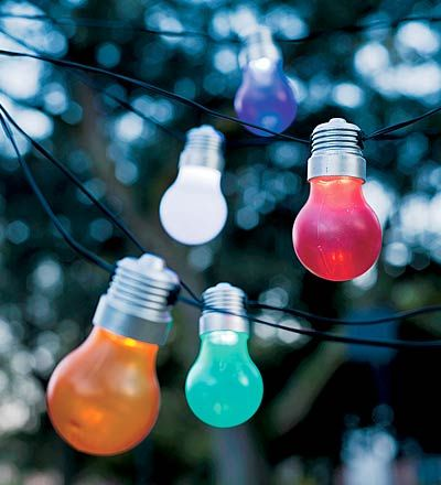 Retro Light Bulb- Solar Lights....18 on a string, these are so cute!