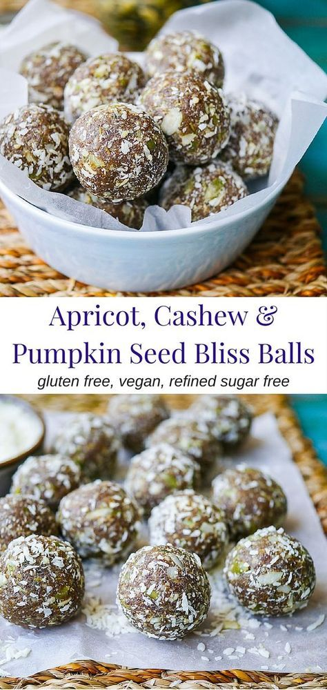 Apricot, Cashew and Pumpkin Seed Bliss Balls by Nourish Everyday | Tasty, chewy and nutritious bliss balls made with natural dried apricots, cashews and crunchy pumpkin seeds. Gluten free, dairy free, no added sugar!