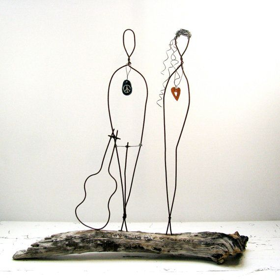 Wire Sculpture Driftwood Wire Art Flower Power Peace Sign Sculpture ...