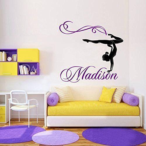 Nom de jeune fille personnalis/é gymnaste gymnastique Danse Danse vinyle autocollant Sticker Mural Stickers muraux pour chambres denfants taille 76x71cm