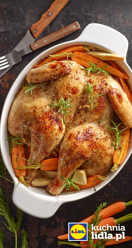 Kurczak Pieczony W Marynacie Orzechowej Z Mlodymi Warzywami Przepis Recipe Meat Chickens Dishes Chicken Dishes