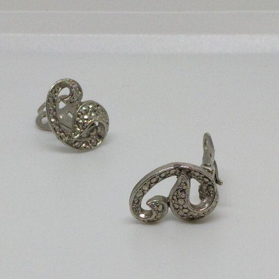 Vintage Marcasite Earrings Clip On Swirl