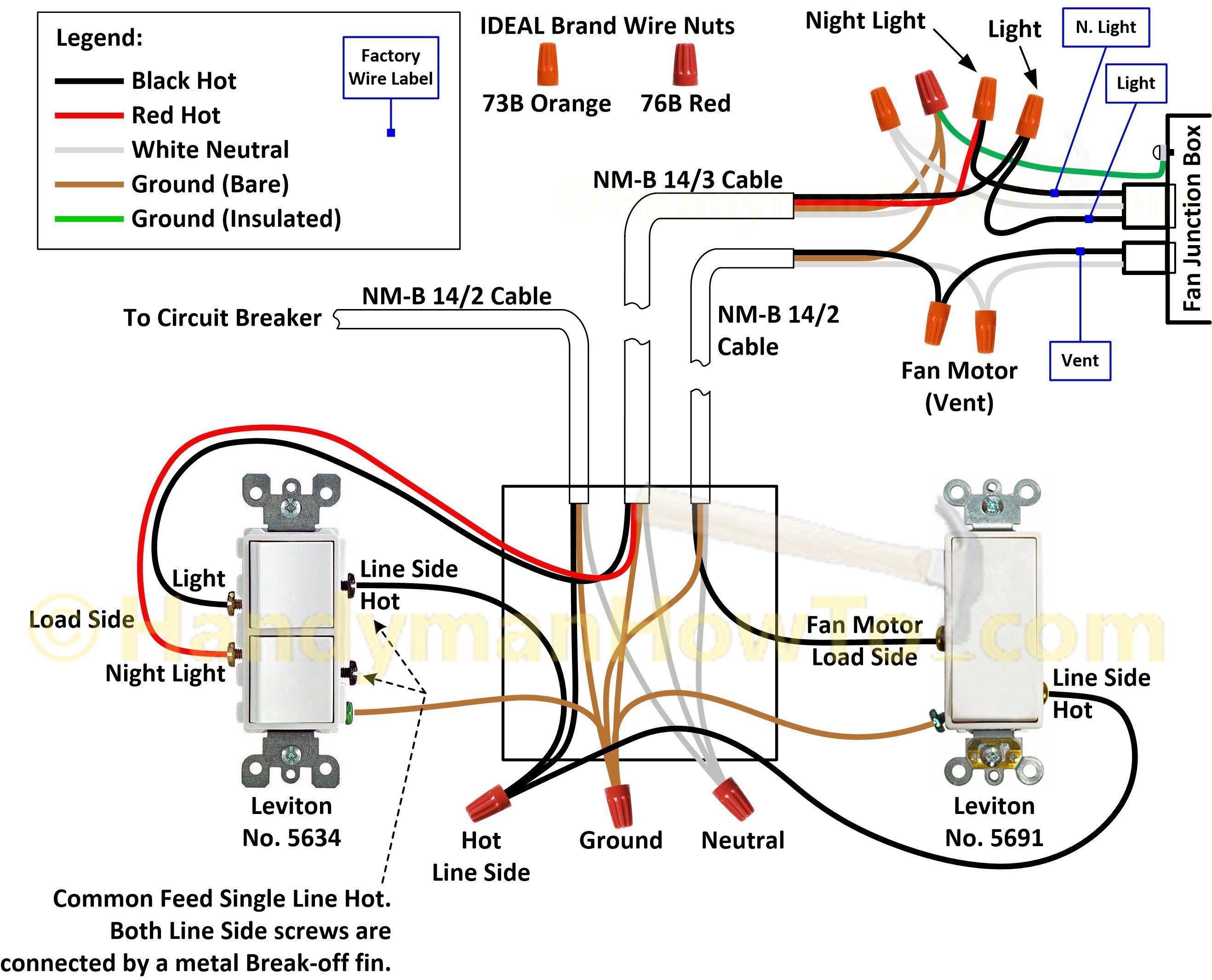 Bathroom Exhaust Fan Wiring Diagram | Ceiling fan wiring, Light switch  wiring, Bathroom fan  Pinterest