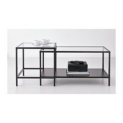 Vittsjo Tables Gigognes Lot De 2 Blanc Verre 90x50 Cm Tables Gigognes Table Basse Salon Mobilier De Salon
