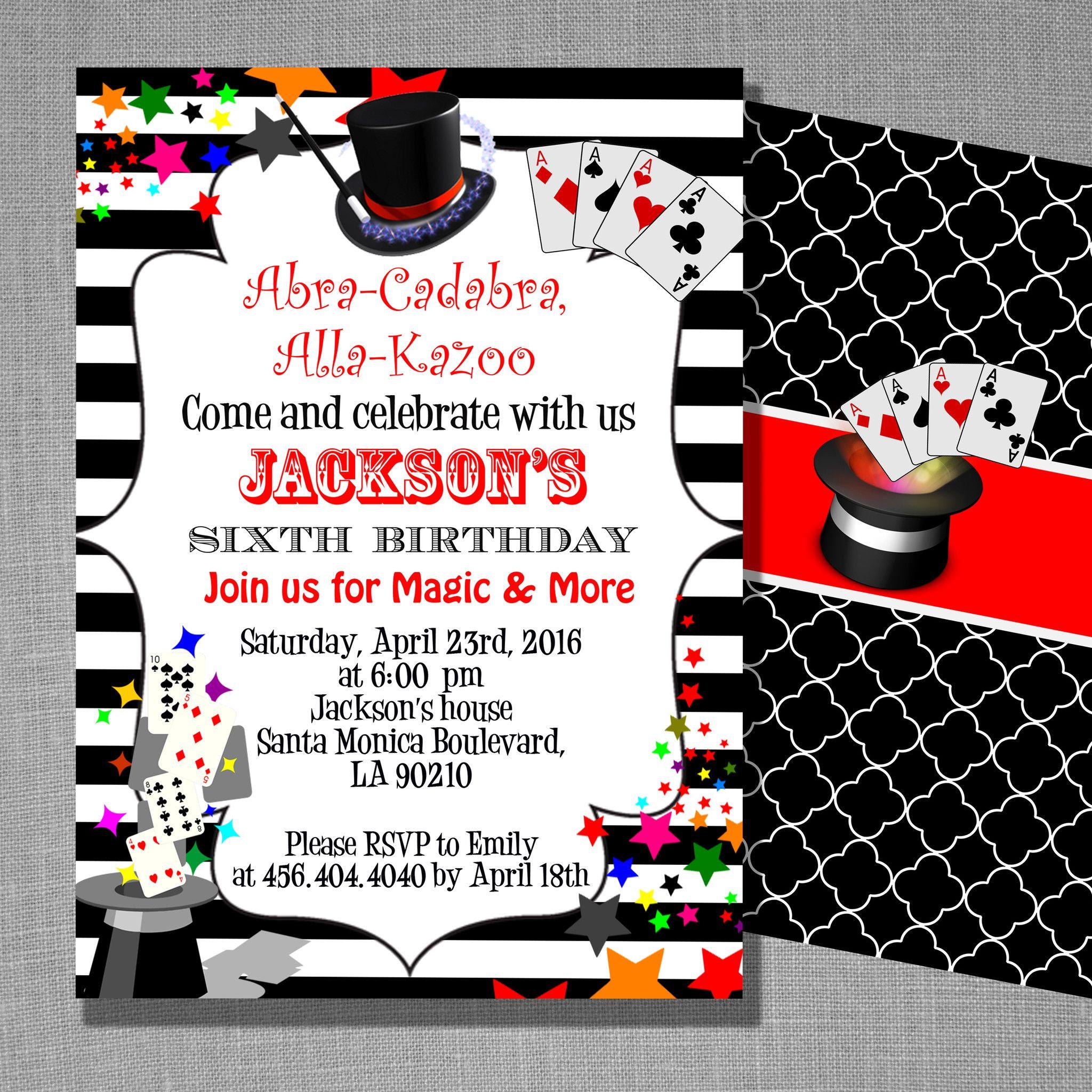 Magic birthday party invitation templates | Magic Invitations ...