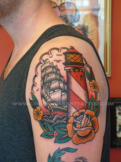 6f917711b5366 ship and lighthouse tattoo | Tattoo ideas | Shoulder tattoo ...