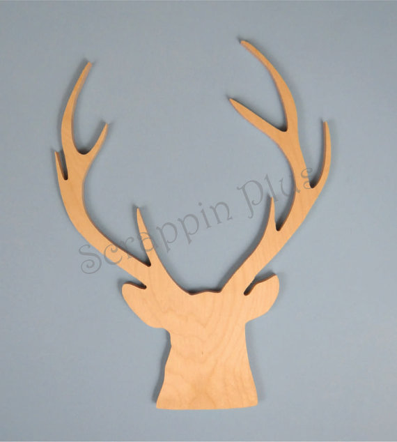 24 Inch Wooden Deer Head With Antlers Deer Head Wooden Shapes Deer