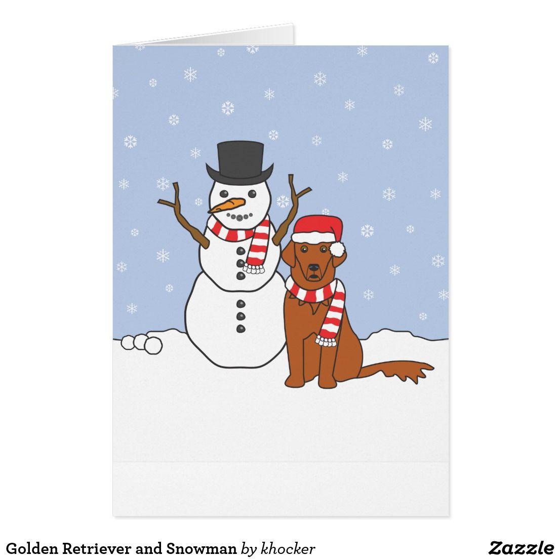 Golden retriever and snowman holiday card