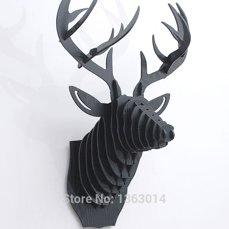 High Quality Black Wooden Puzzle Deer Head With Antlers