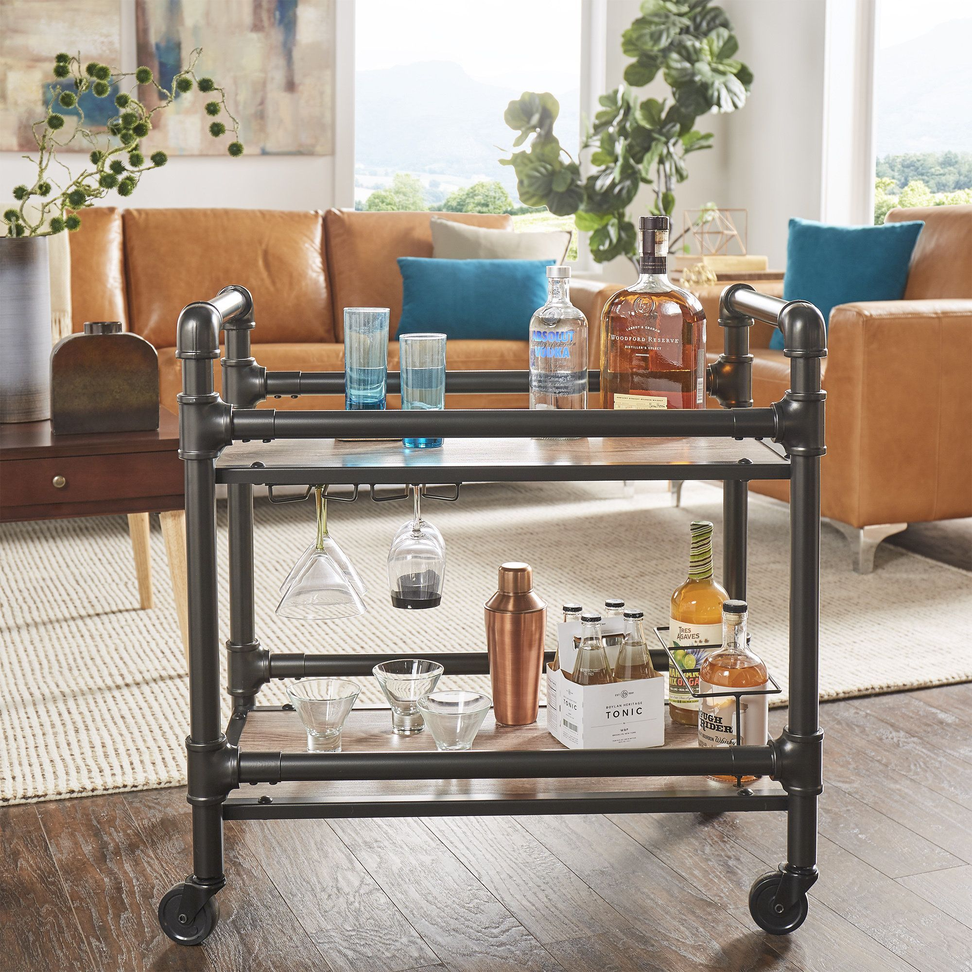 Metropolitan Dark Bronze Metal Pipe Mobile Bar Cart with Wood Shelves by  Inspire Q (Dark Bronze Pipe Bar Cart), Black