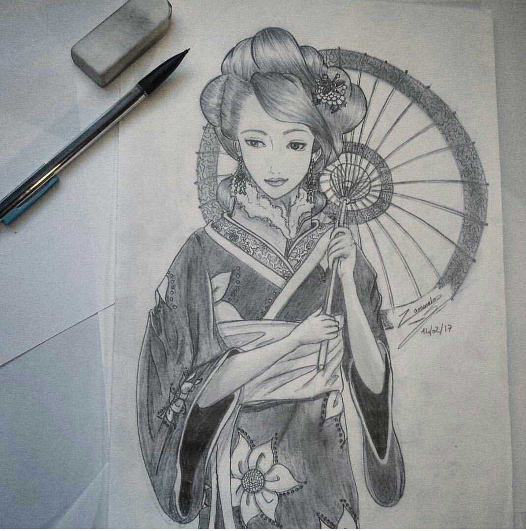 dessin d 39 une geisha japonaise en noir et blanc draw japenese blackandwhite mes dessins. Black Bedroom Furniture Sets. Home Design Ideas