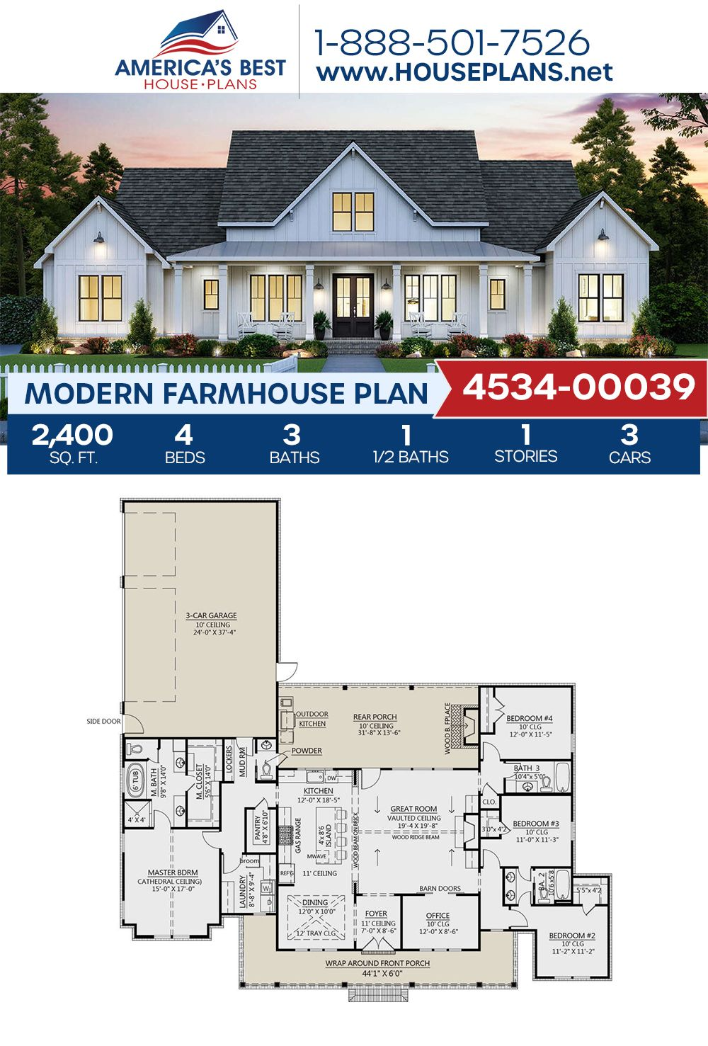 House Plan 4534 00039 Modern Farmhouse Plan 2 400 Square Feet 4 Bedrooms 3 5 Bathrooms Modern Farmhouse Plans Craftsman House Plans Family House Plans