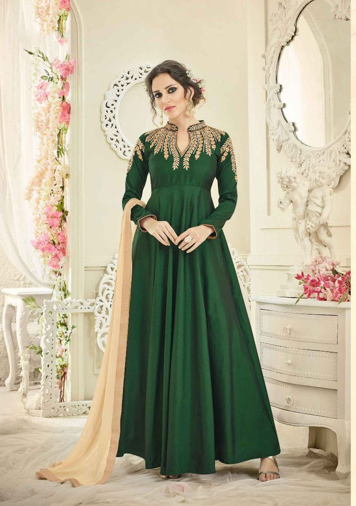 Bollywood India Pakistan Indo Western Silk Designer New Party Wear Dress  Green  RadhaKrishnaExports  BollywoodIndoWestern  Party ffd897327