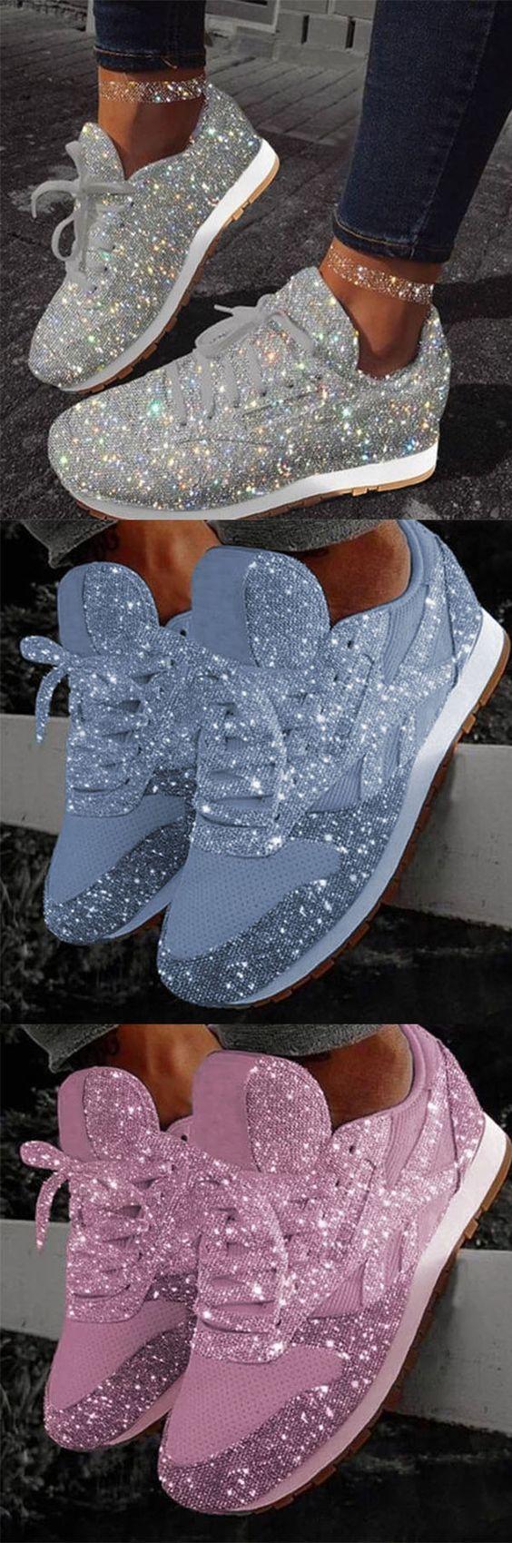 Platform sneakers, Glitter shoes