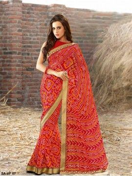 3724f255a1 Rajasthani Bandhej Printed Georgette Saree in Red | Latest party ...