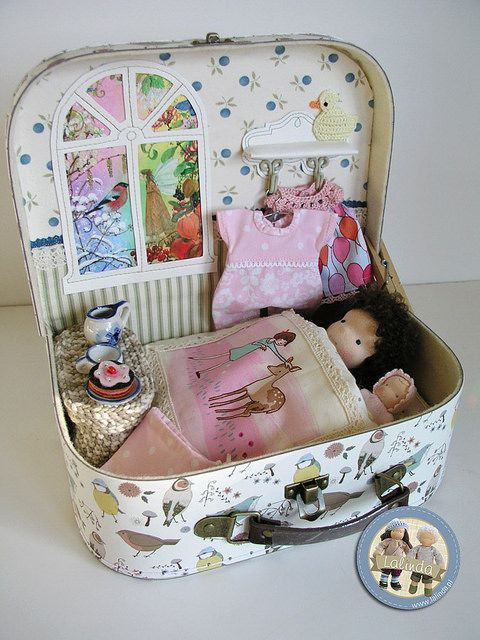 Waldorf dolls Beatka and Bobo - suitcase set by Lalinda.pl