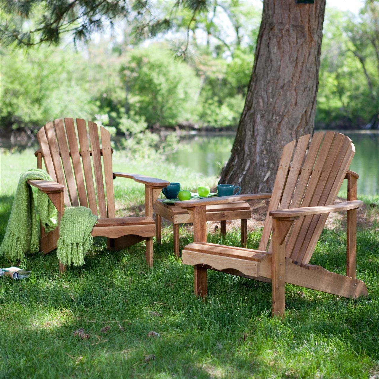 3-Piece Patio Set - 2 Oak Adirondack Chairs and Matching Side Table