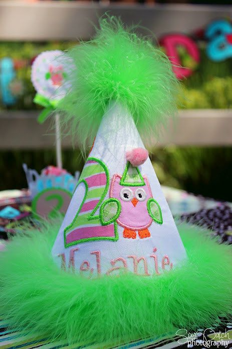 Childrens Personalized Owl Theme Birthday Hat Custom First YOU CHOOSE Colors Number