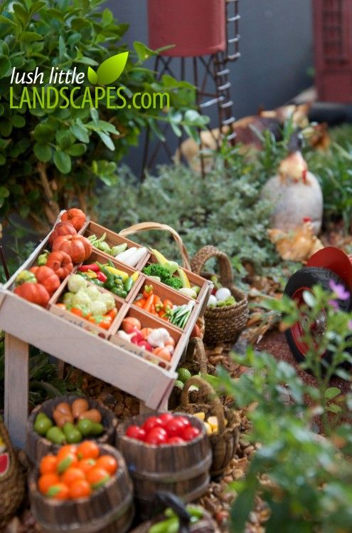 This is a miniature living garden! Miniature Farm Garden on Lush Little Landscapes with a Barn, Tractor, Farm Stand, Cattle, Chickens, Water Tower, Silo, Windmill. Project Guide coming soon...
