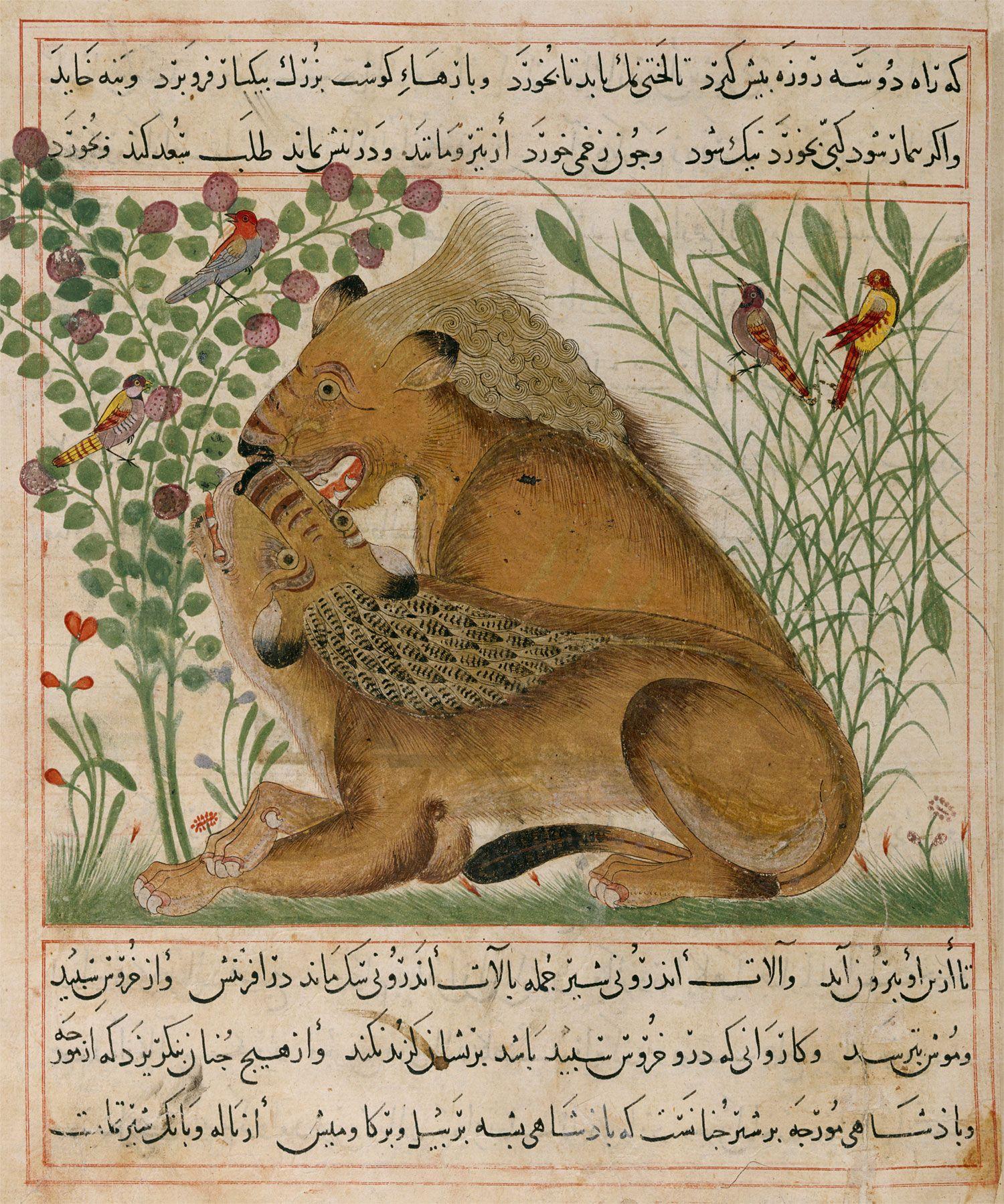 Abu Sa'd' Ubayd-Allah ibn Ibrahim, known as Ibn Bakhtishu | Manāfi˓-i al-ḥayavā (The Benefits of Animals) | Between 1297 and 1300 | The Morgan Library & Museum