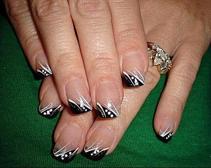 Black Tip Nail Designs French Tip Nail Designs Nail Designs Lines On Nails