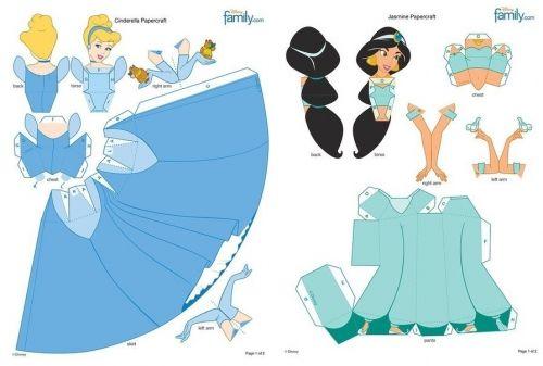 объемные куклы из бумаги, принцессы сказок Диснея, Золушка ...