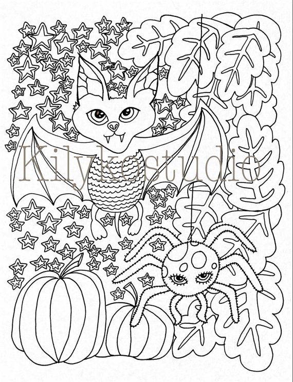 Halloween Bat Spider pumpkins fall leaves adult coloring