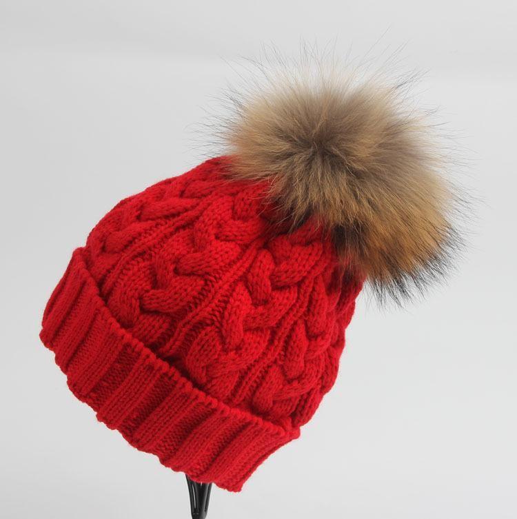 064fef3c706 Real 15CM BIG Raccoon fur Winter woman beanie hat cap pom pom fur ball knitted  hat For Apparel Accessories 5pcs lot