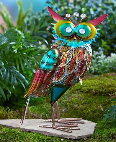 Colorful Metallic Flamingo Peacock Rooster Owl Metal Garden Statue Lawn  Yard Outdoor Decor