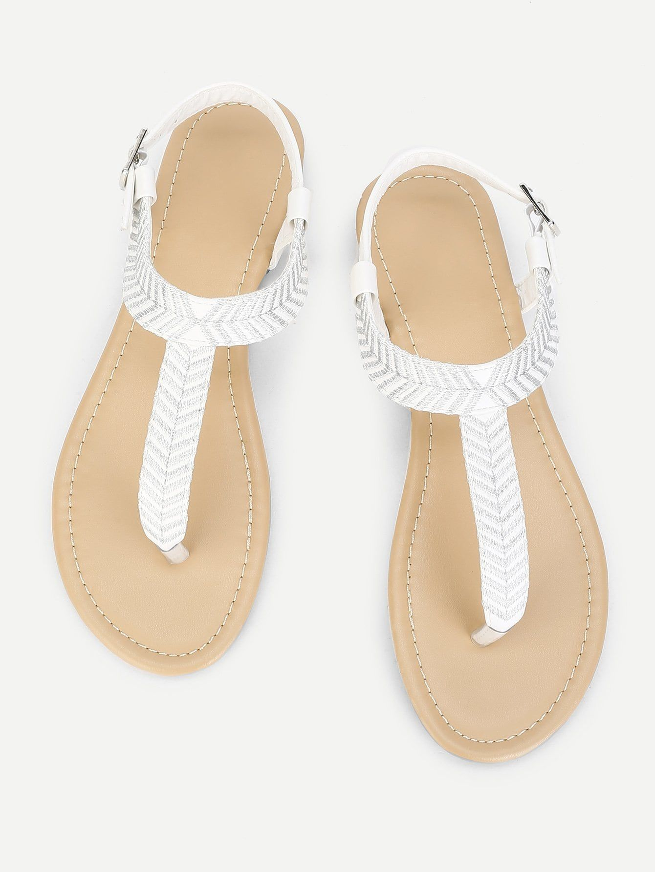 a7b4d2d8b Casual Strappy White Embroidery Detail Toe Post Flat Sandals | Shoe ...