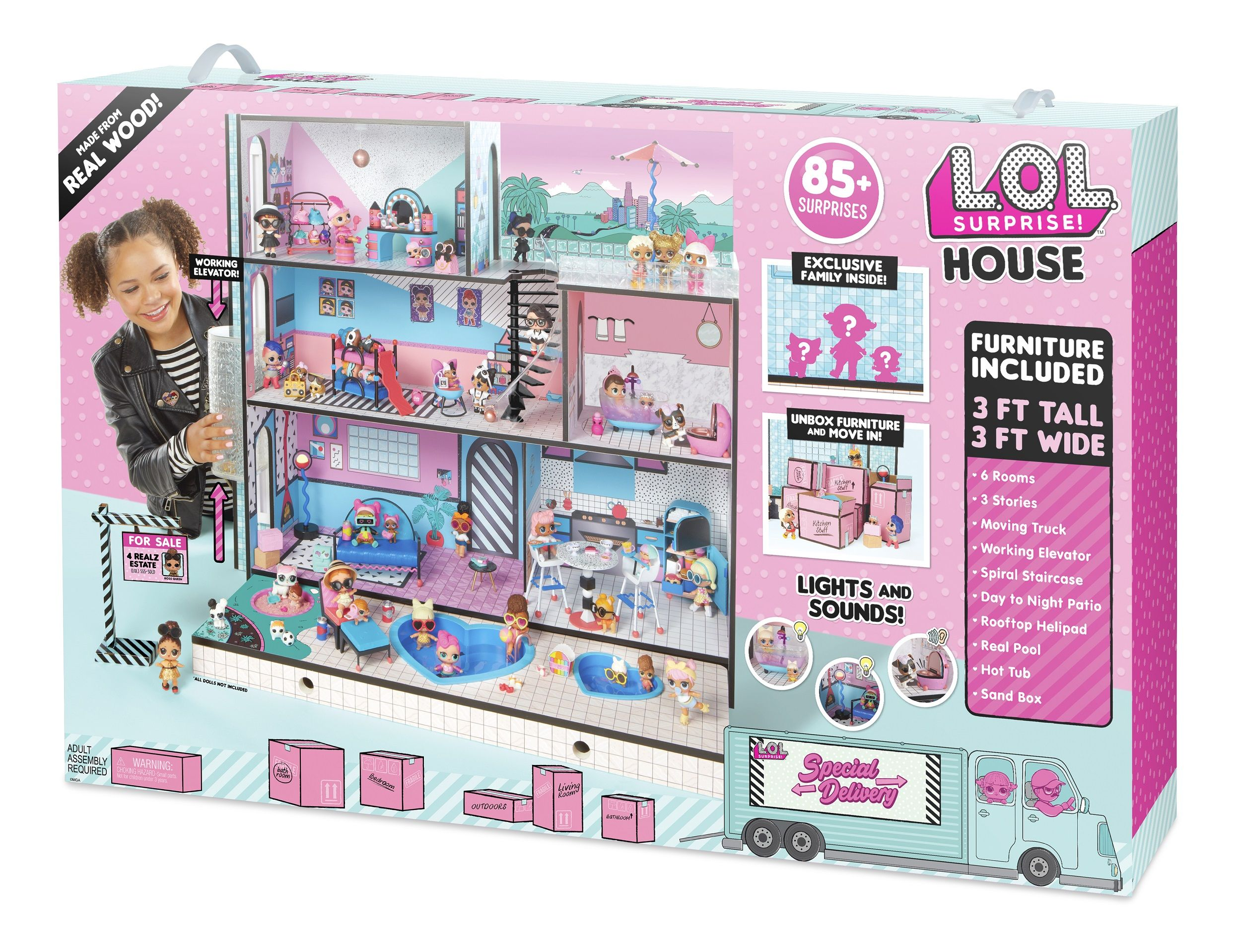 L O L Surprise House With 85 Surprises And Made Of Real Wood Walmart Com Lol Dolls Dollhouse Kits Doll House