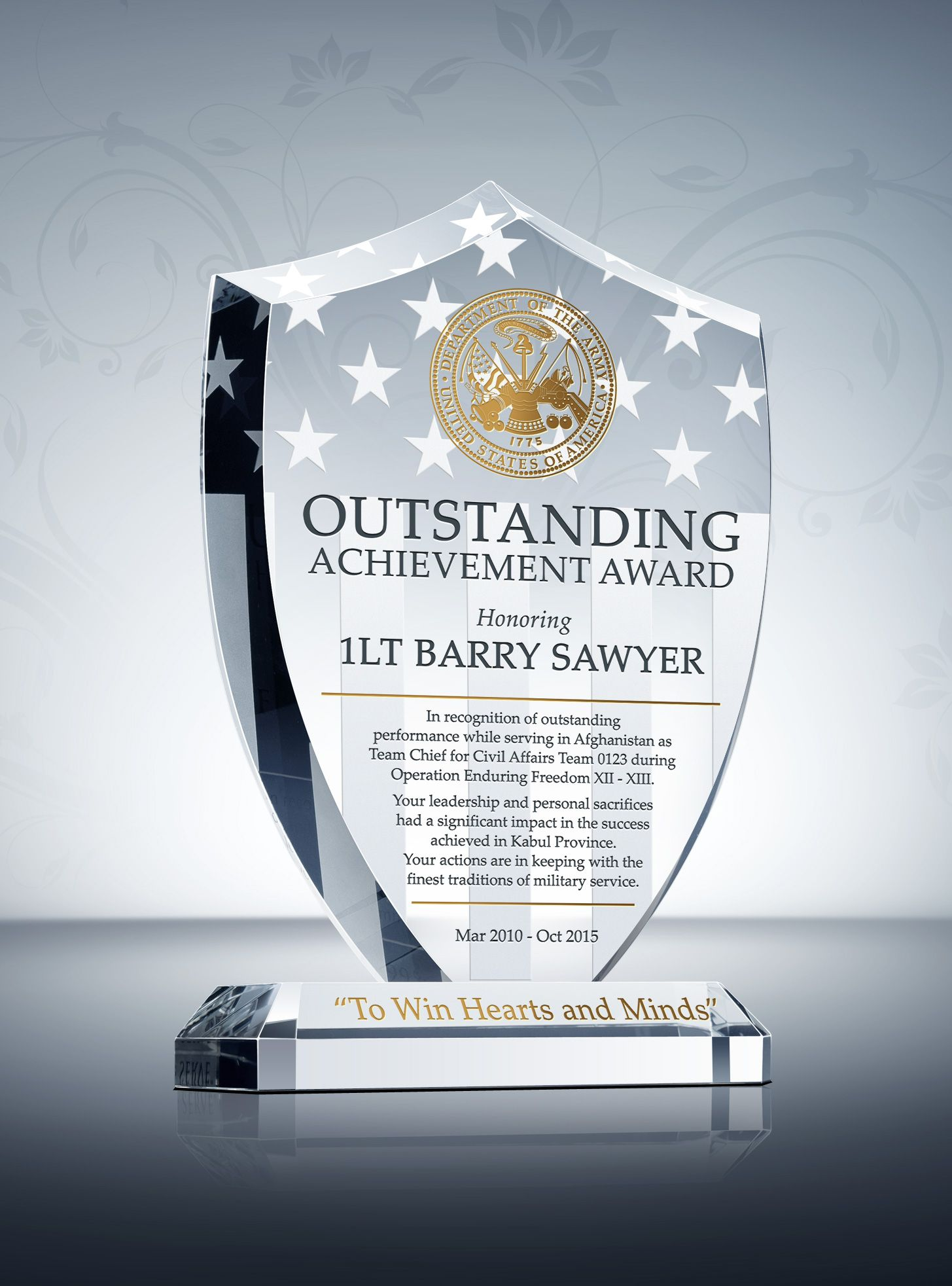 Shield Recognition Plaques for Military Service Gifts