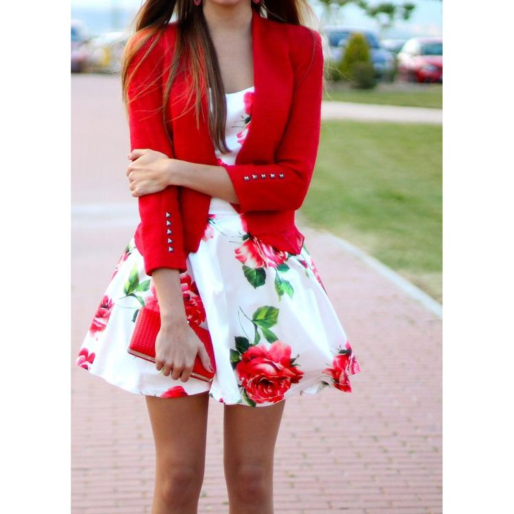 Red Rose Print Skater Dress, lose the military jacket and replace ...