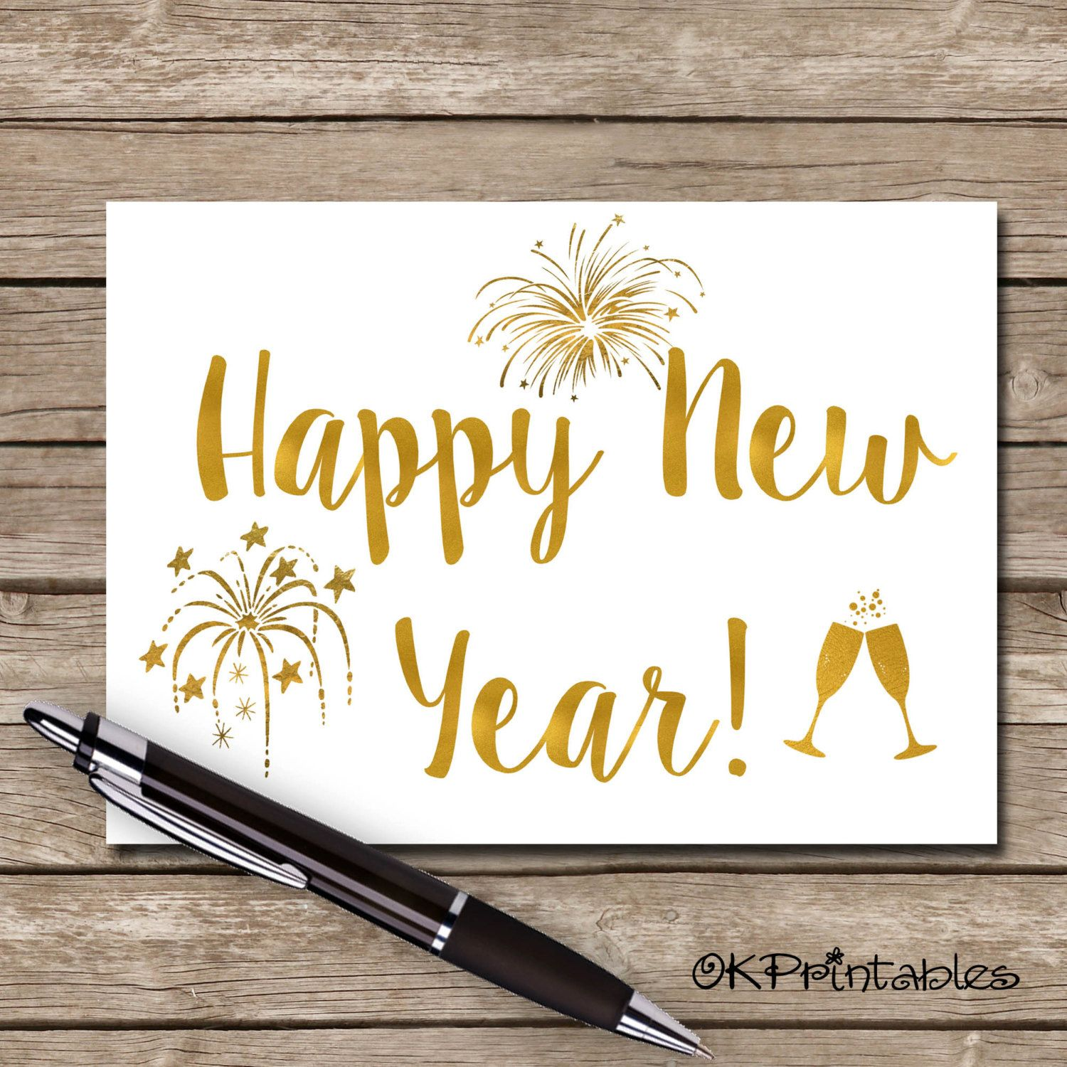 Printable Happy New Year Greeting Card Hand Letter Design Blank Inside Instant Downloa New Year Greeting Cards Happy New Year Greetings New Year Greetings