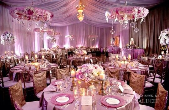 Purple Cream And Gold Wedding Reception Wedding Party Table